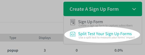 AWeber split test signup forms