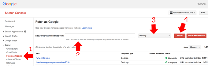 Google Webmaster Fetch As Google cybercashworldwide.com