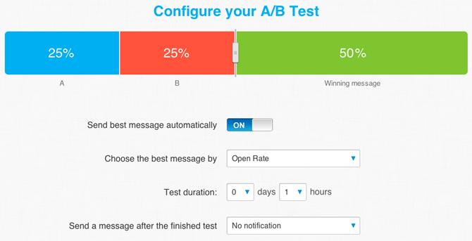 GetResponse A/B test messages