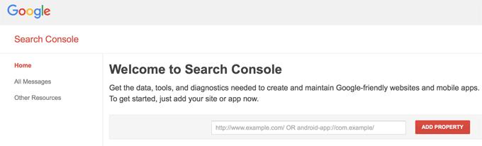 Google Webmaster Add Property