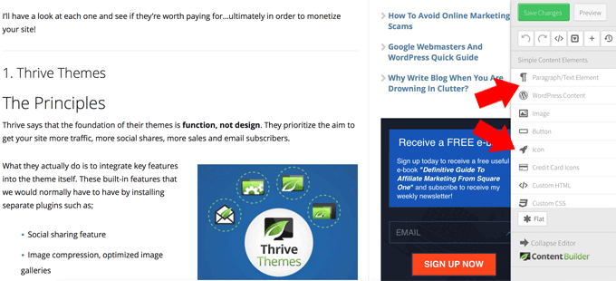Thrive Content Builder and Landing Page