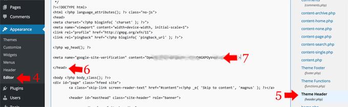Wordpress Editor Header Google Webmaster Code