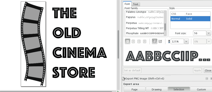 Inkscape example with a text
