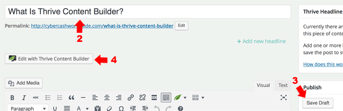 Thrive Content Builder How To Start