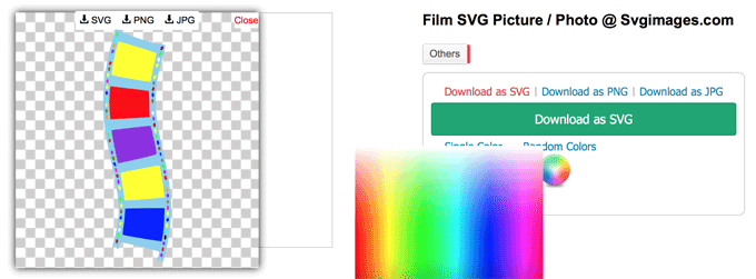 Film strip in random colour