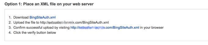 Bing Webmaster XML file on webserver