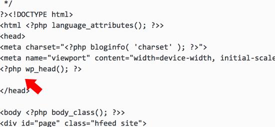 Theme Header php meta tag