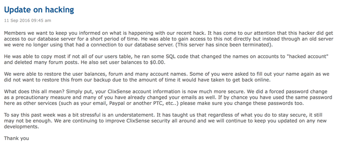 ClixSense Has Been Hacked
