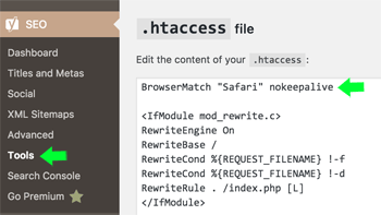 Yoast SEO edit .htaccess file