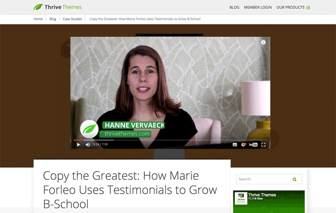 Top Testimonial Plugin For WordPress Thrive Ovation Marie Forleo