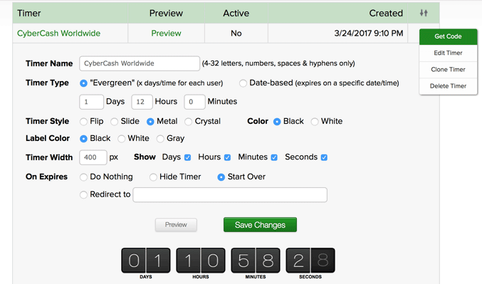 ClickMagick Timer Settings
