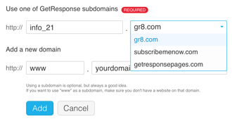 GetResponse URL (Domain) Settings