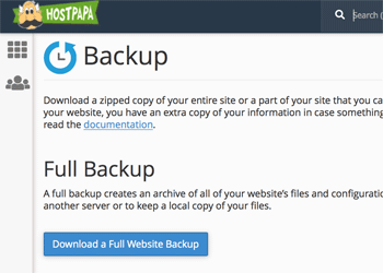 Full Backup from cPanel