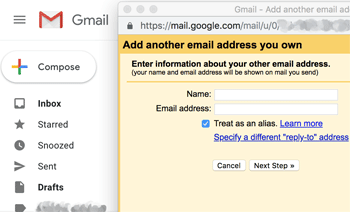 Gmail add address