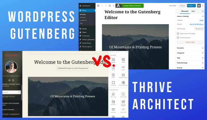 WordPress Gutenberg vs Thrive Architect