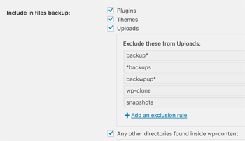 Include in Files Backup