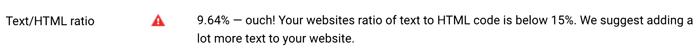 Text/HTML Ratio