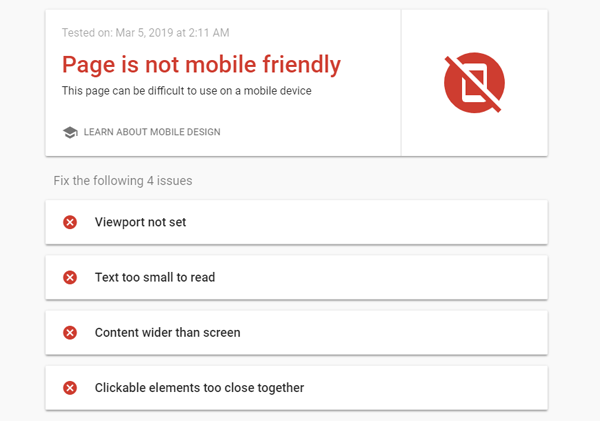 Google Page is not mobile friendly