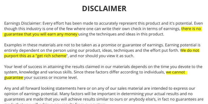 Cash Formula Disclaimer