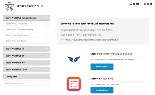 Secret Profit Club Dashboard