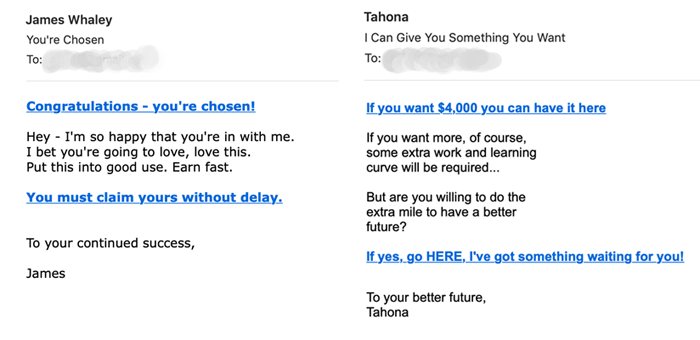Spam email examples