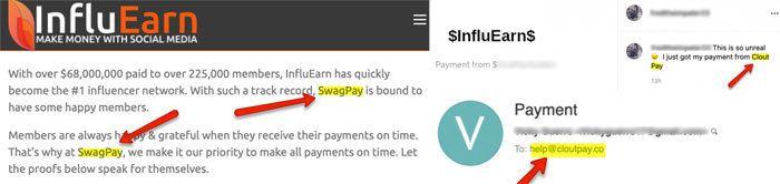 SwagPay CloutPay InfluEarn