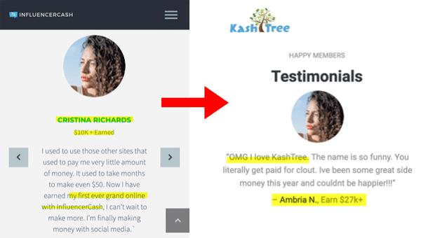 InfluencerCash Fake Testimonial