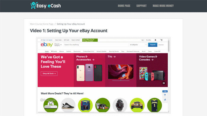 Easy Ebay Cash Course Content