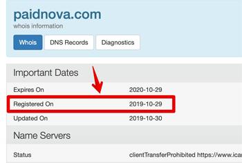 paidnova.com Registration Date