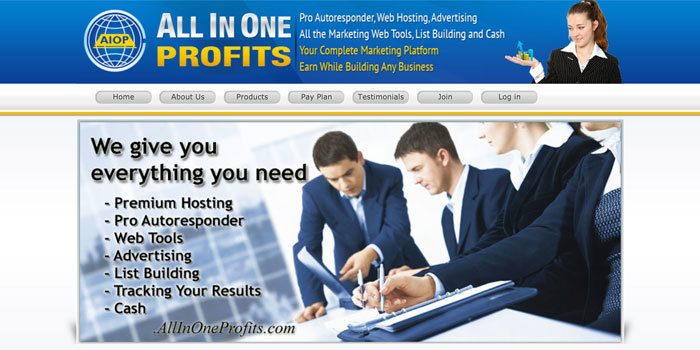 All In One Profits website homepage