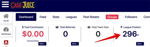 CashJuice League Position