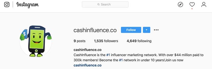 Cashinfluence Instagram