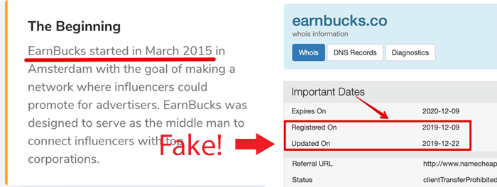 EarnBucks Registration Date