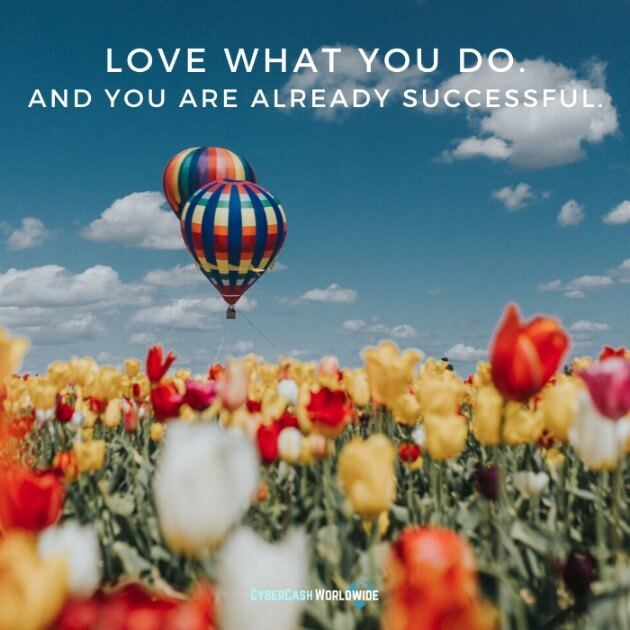 Love what you do. And you are already successful.