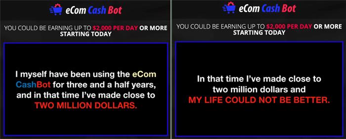 eCom Cash Bot False Income Claim