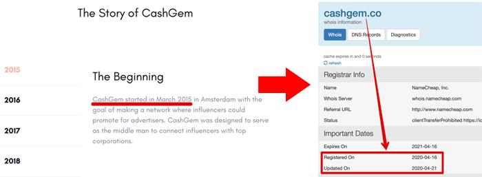 CashGem Registration Date