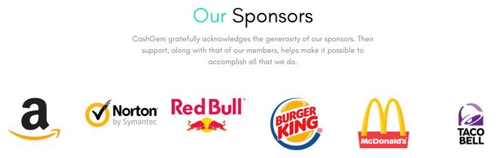 CashGem Sponsors
