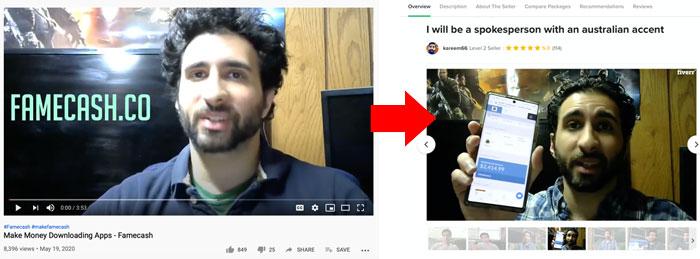 FameCash fake testimonial