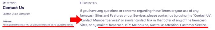 FameCash Fake Addresses
