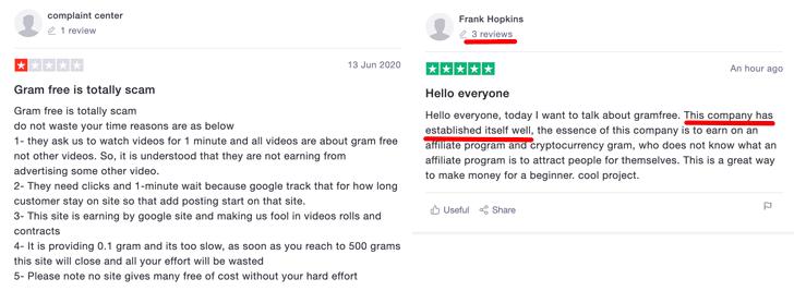 GramFree Reviews Trustpilot