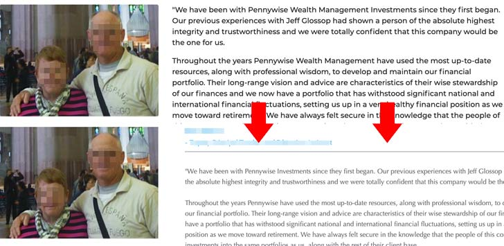 Pennywise Wealth Management Fake Testimonials