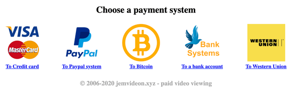 Videon Payment Options