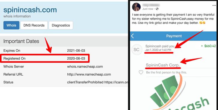SpininCash.com Fake Proofs