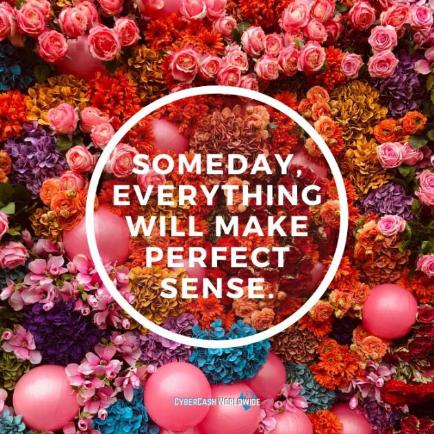 Someday everything will make perfect sense.