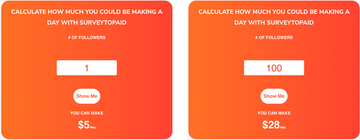 SurveyToPaid Fake Income Projection