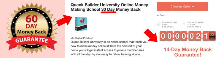 Quack Builder University Money Back Guarantee