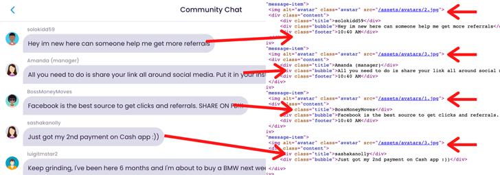 EarningCash Fake Chat