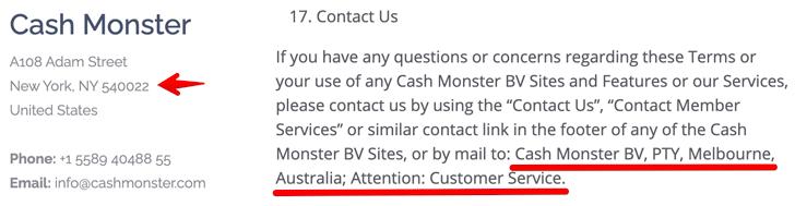 Cash Monster Fake Address
