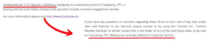 CashJunky Fake Addresses