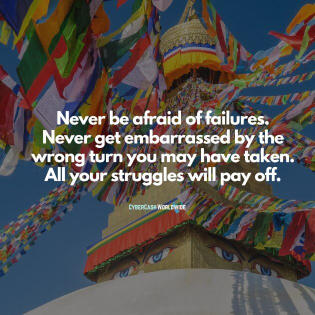 Never be afraid of failures. Never get embarrassed by the wrong turn you may have taken. All your struggles will pay off.
